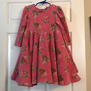 4T Betsy Johnson Pink Velvet Rose Dress